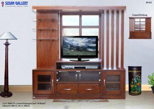 Buffet TV Plus Lemari Pajangan Jati ALBALAD